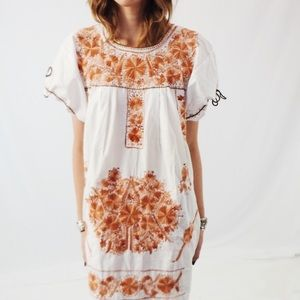 Vintage Dresses | Vtg Handmade Embroidered Mexican Wedding Dress Sl ...